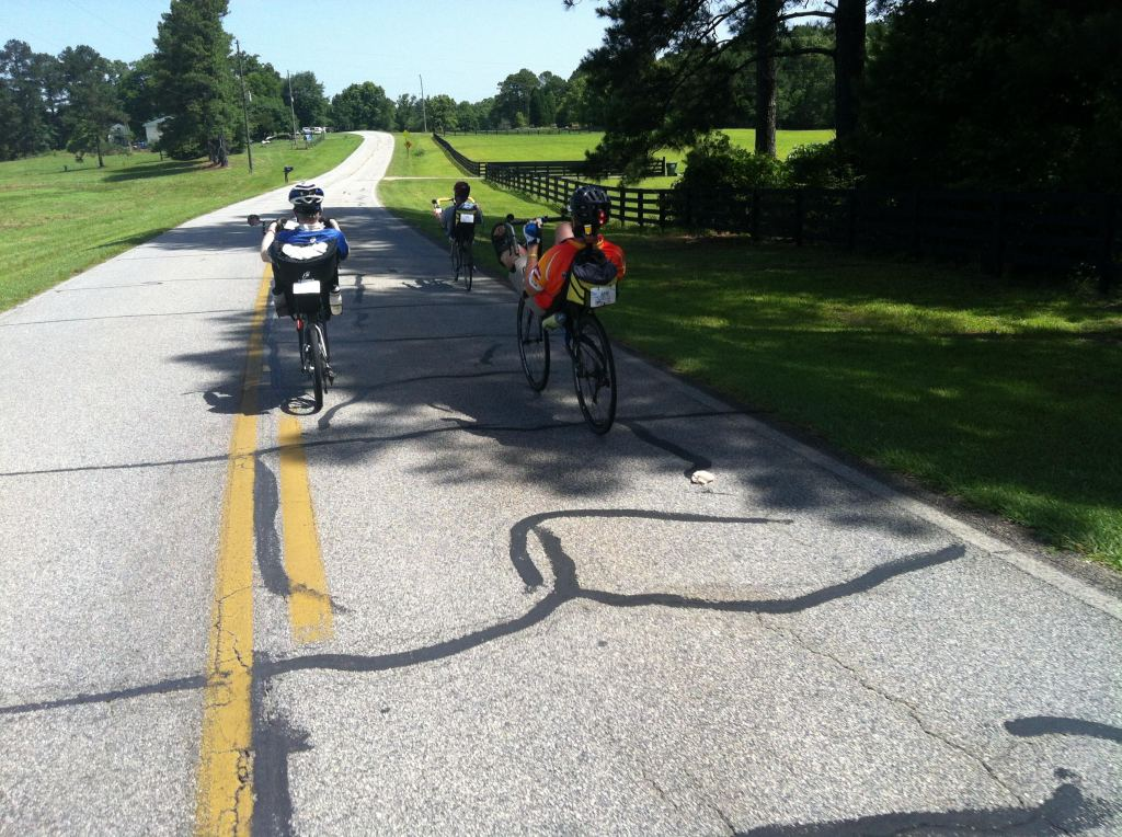 John grabbed this photo of a rare recumbent gathering on the road to Newnan